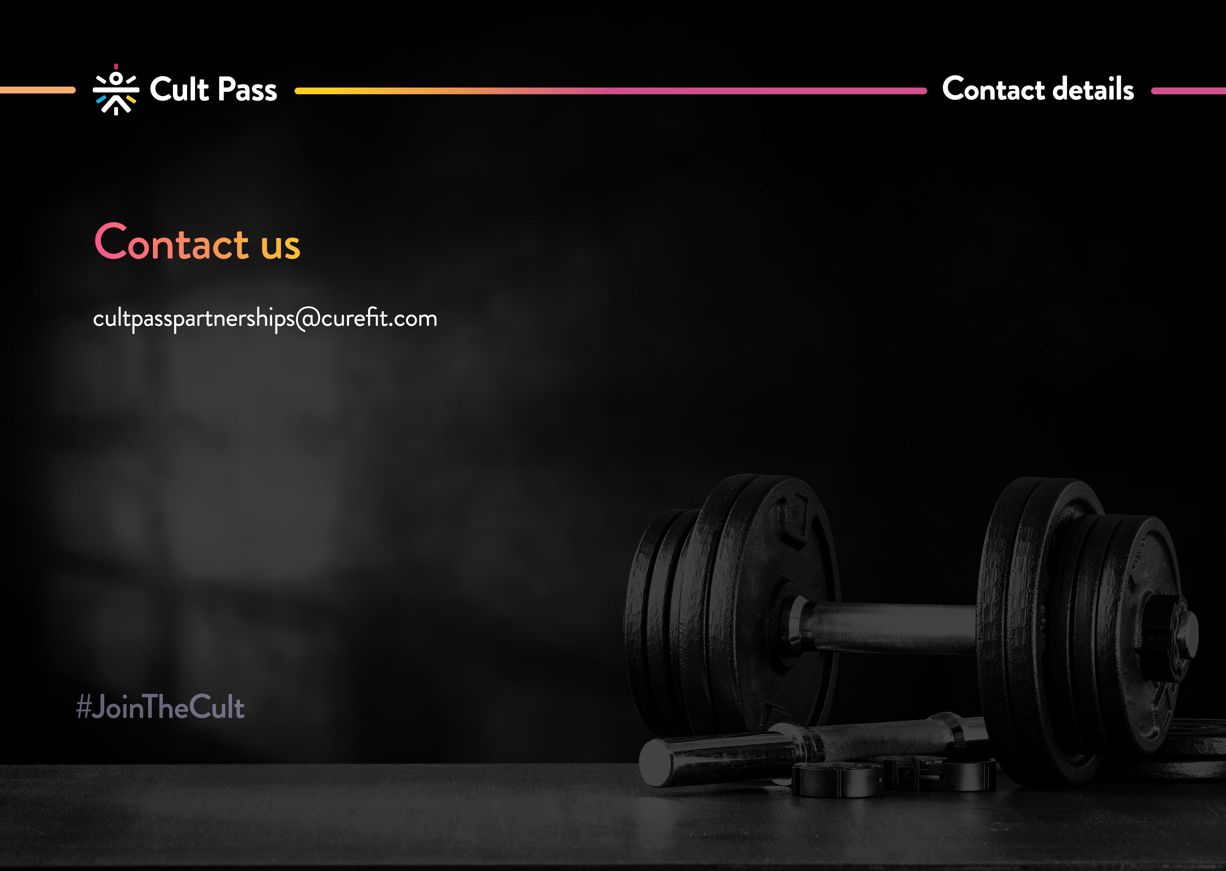 cult pass contact information cultpasspartnerships@curefit.com