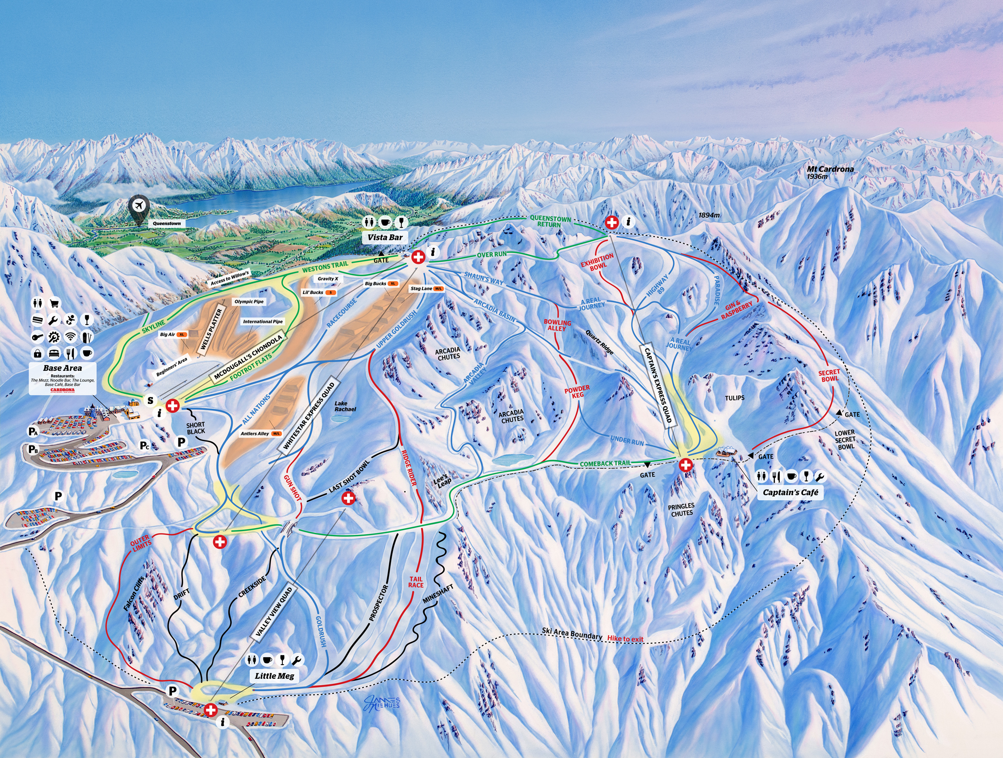 A map of the Cardrona ski field