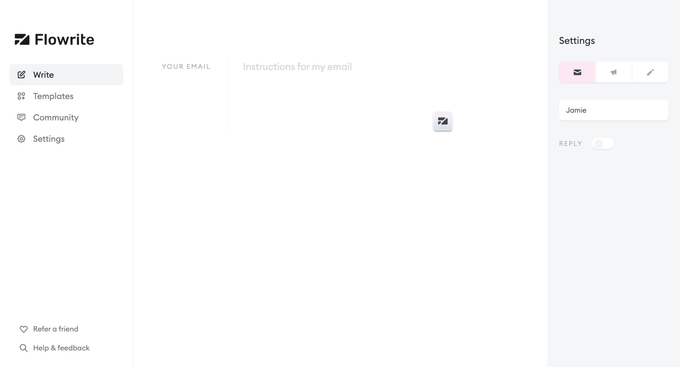 Flowrite user interface