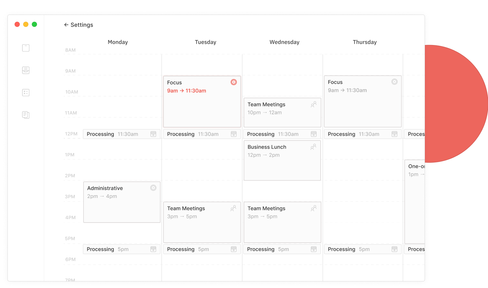 Define slots to create your own Routine during the week