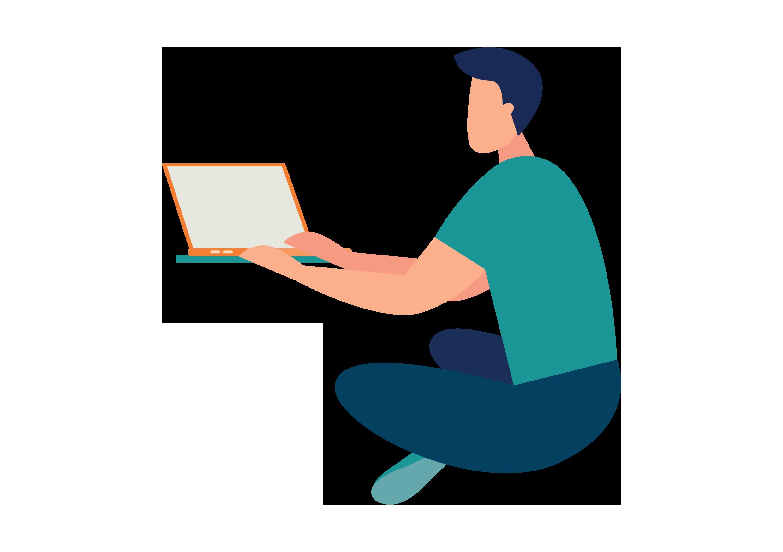 individual on laptop