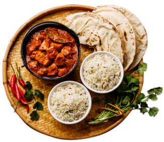 A plate of chapatis, rice and curry