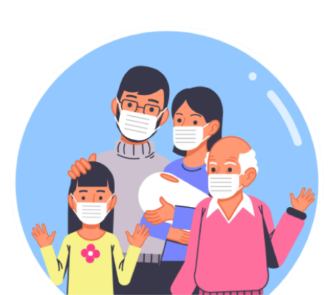 An animation of family all wearing protective masks