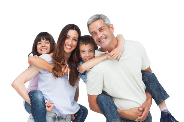 Smiling parents holding their children's backs