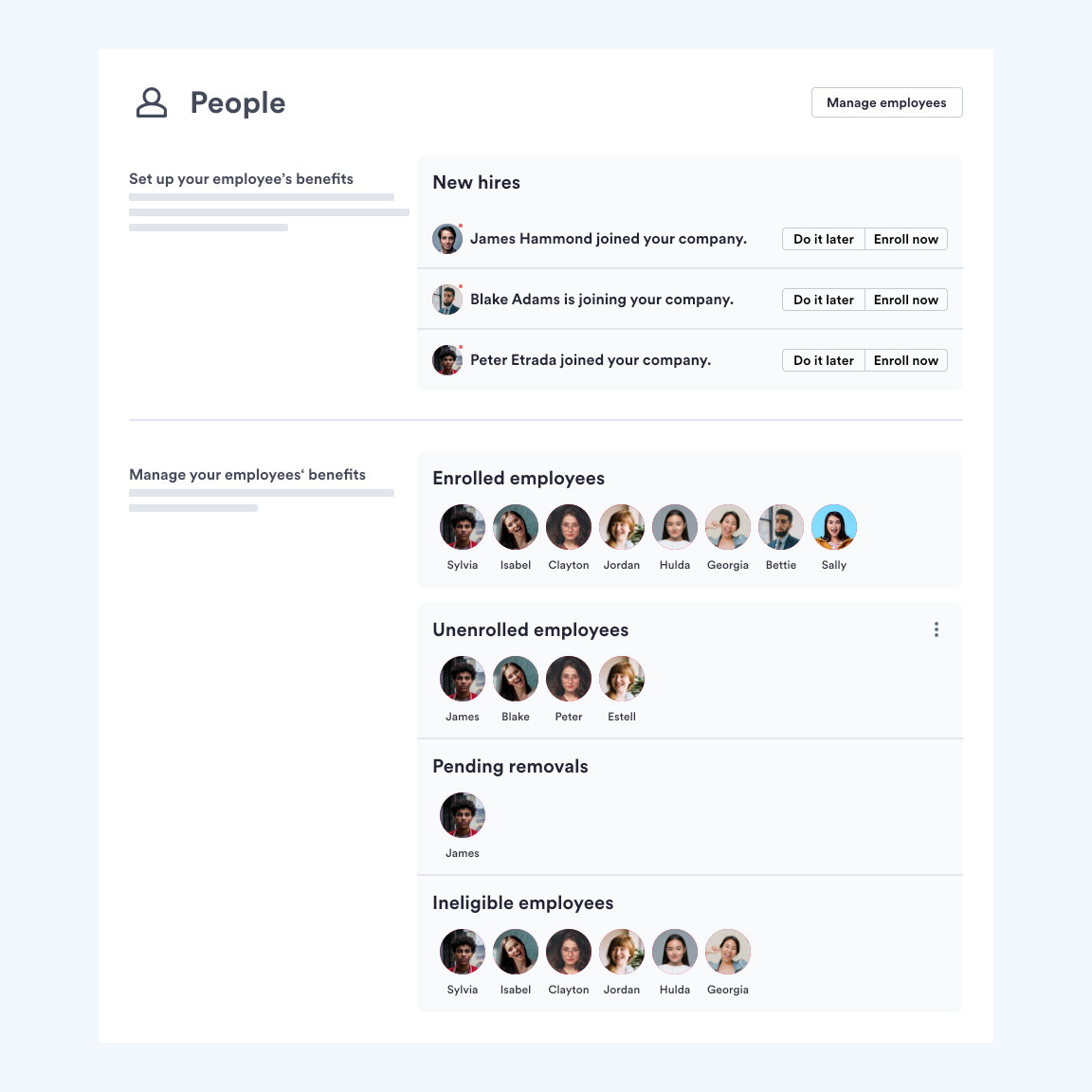 Swingvy benefits platform view for administrators of employee enrollment in company medical insurance
