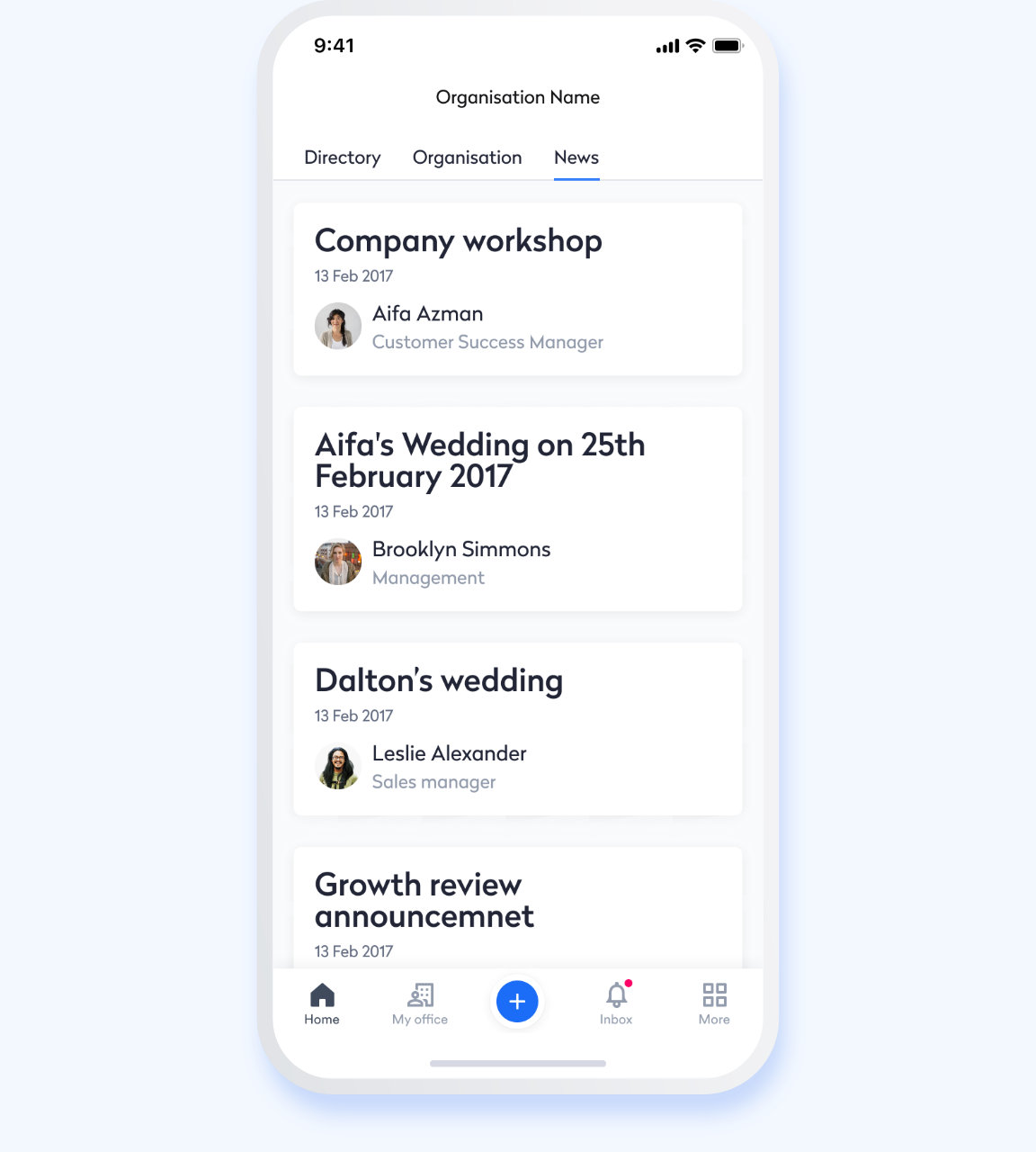 Swingvy mobile HR app view of shared company news stream