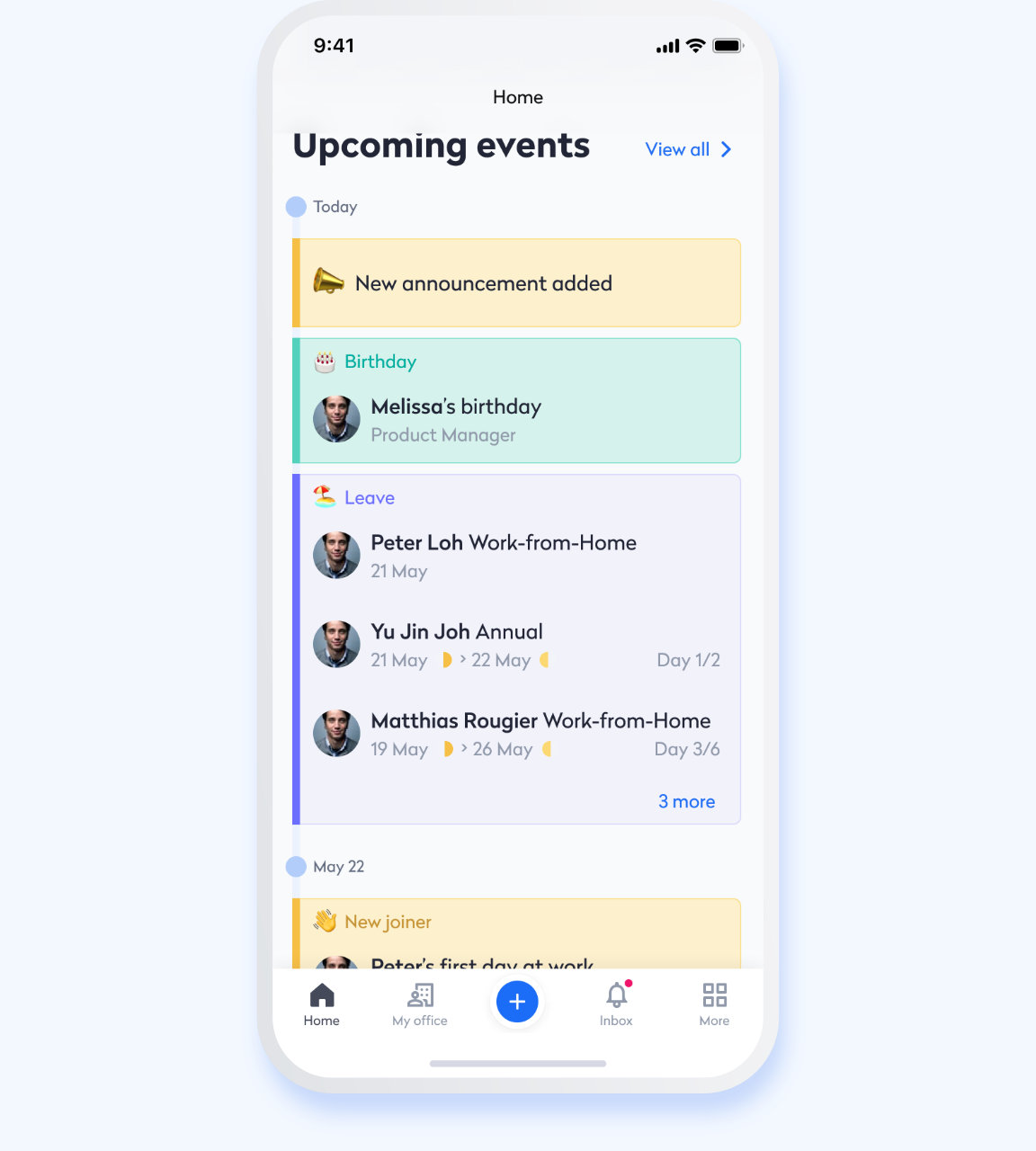 Swingvy mobile HR app view of shared company calendar with upcoming events