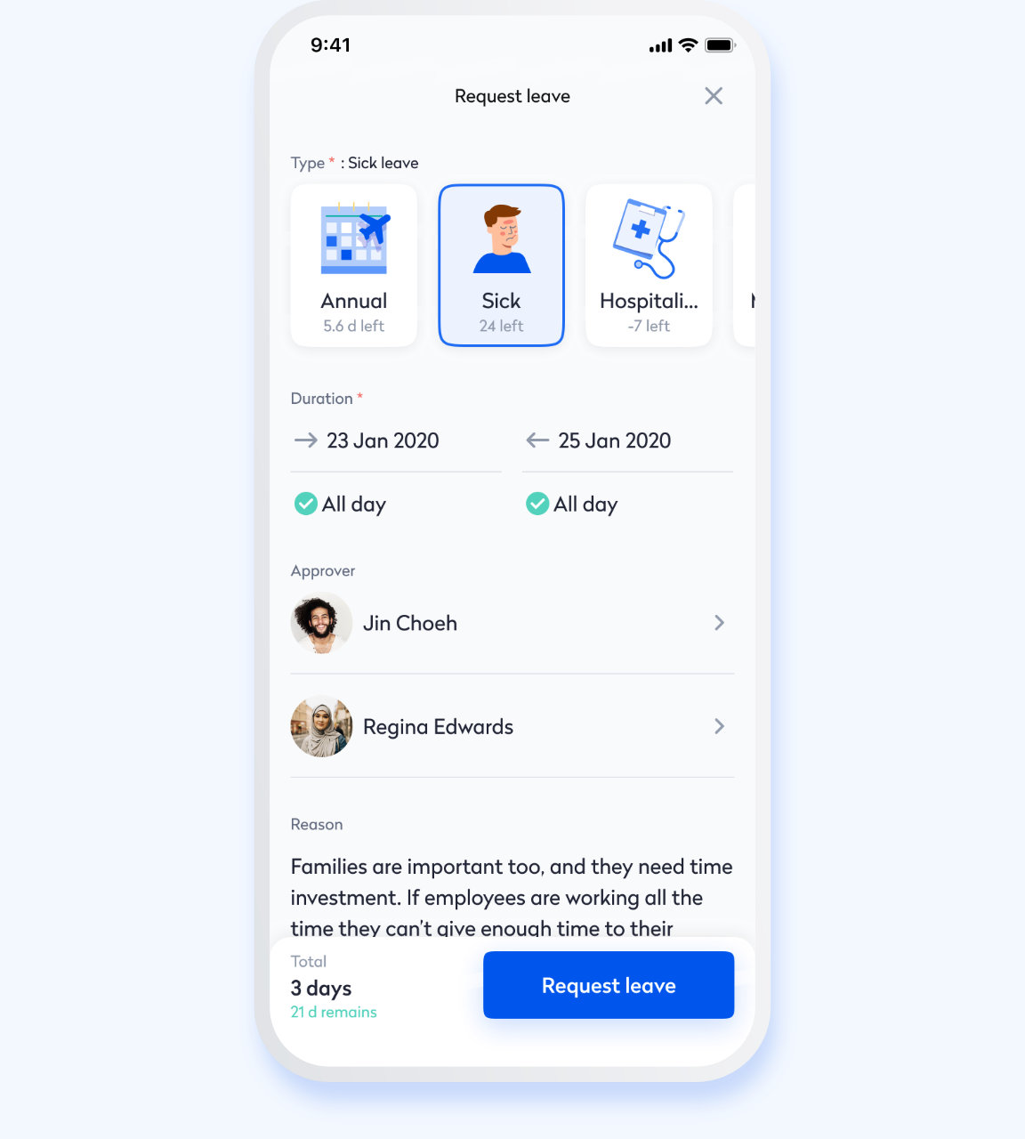 Swingvy mobile HR app view of employee leave application process