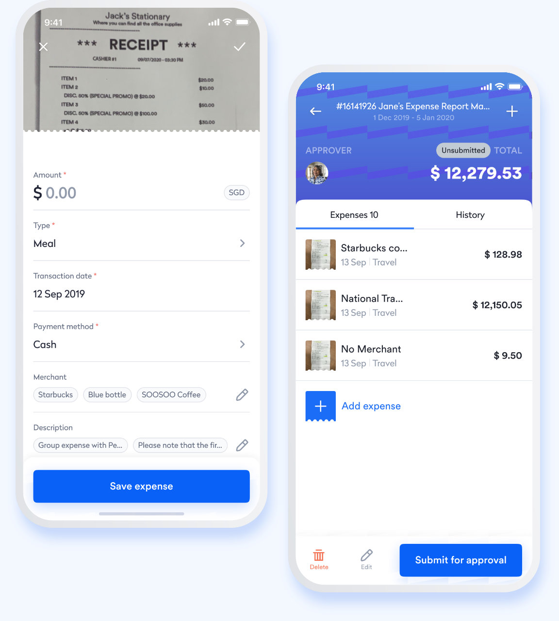 Swingvy mobile HR app view of employee expense claim submission process