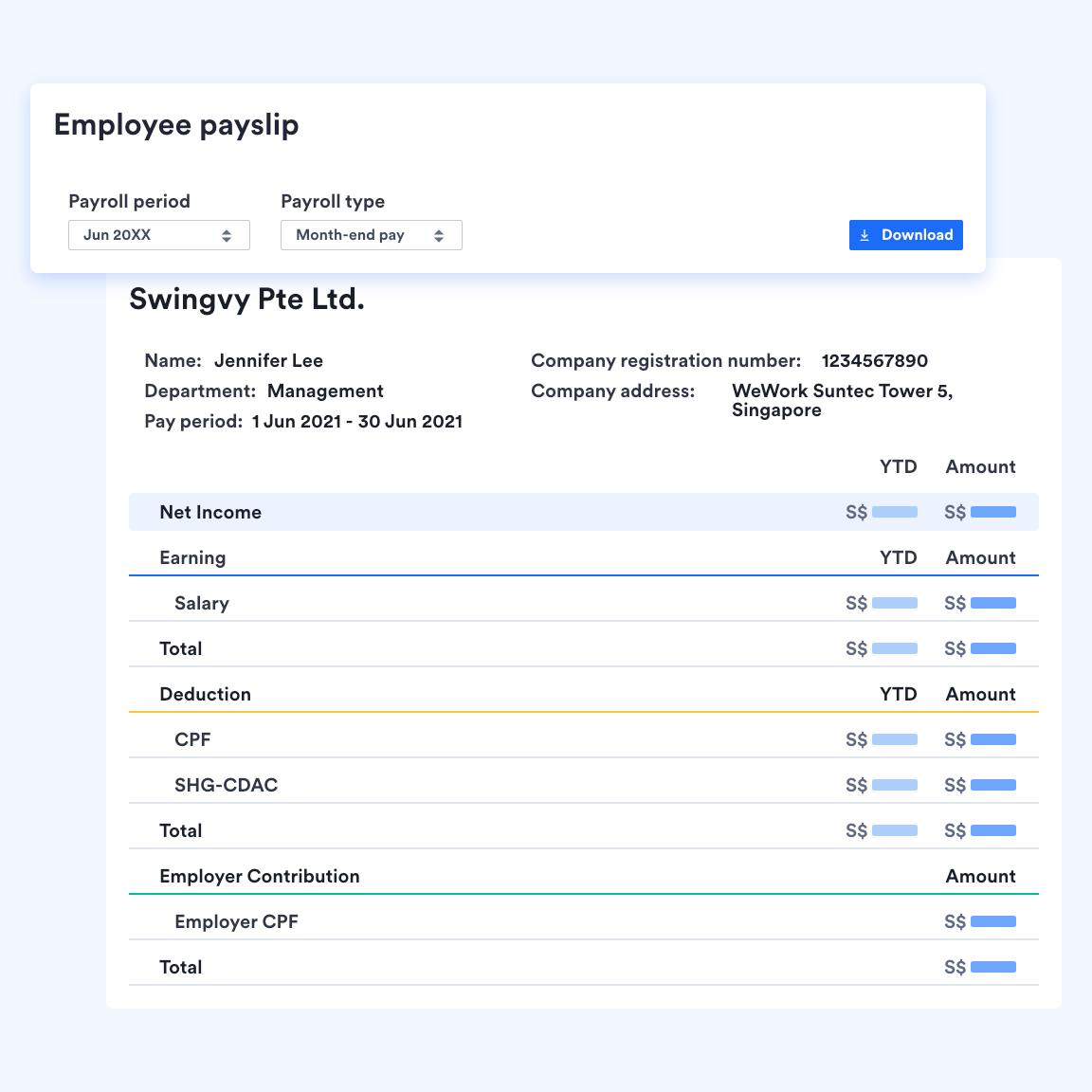 Swingvy HR software view of digital employee payslip