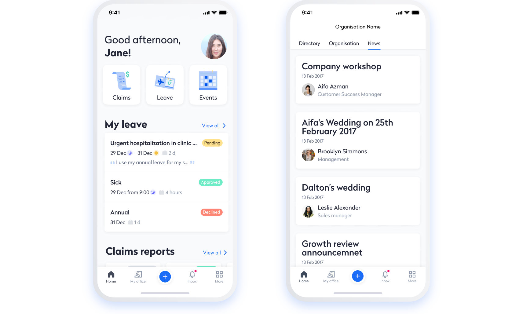 Swingvy mobile HR app dashboard and company news feed