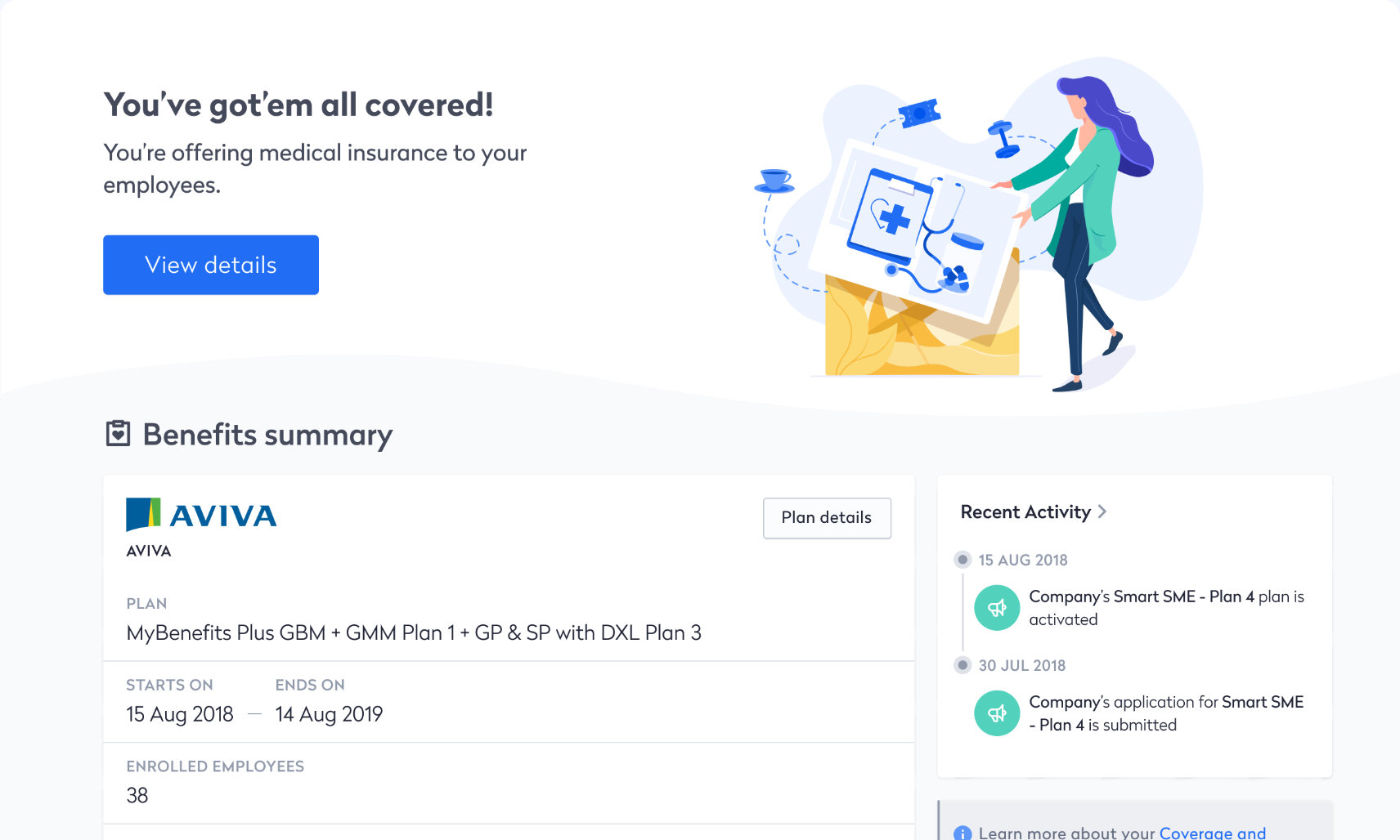 Swingvy HR platform with medical insurance integration dashboard view