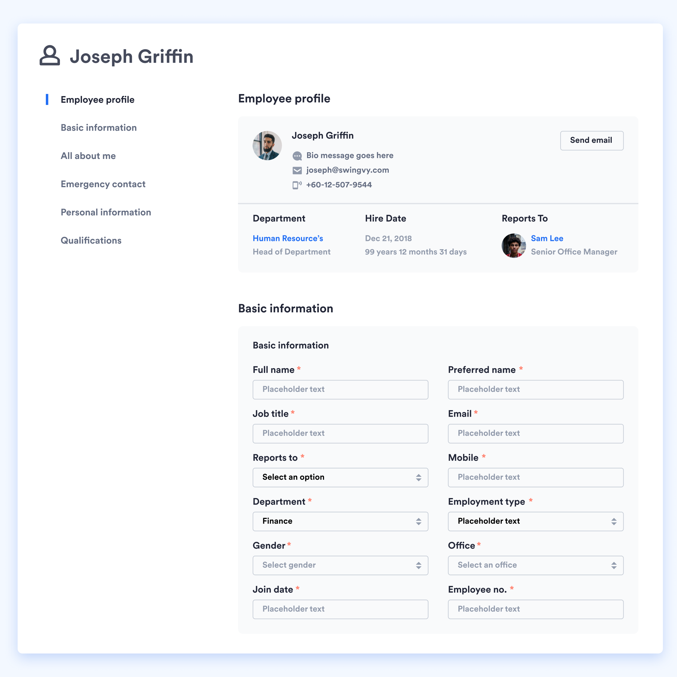 Swingvy HR software employee profile view