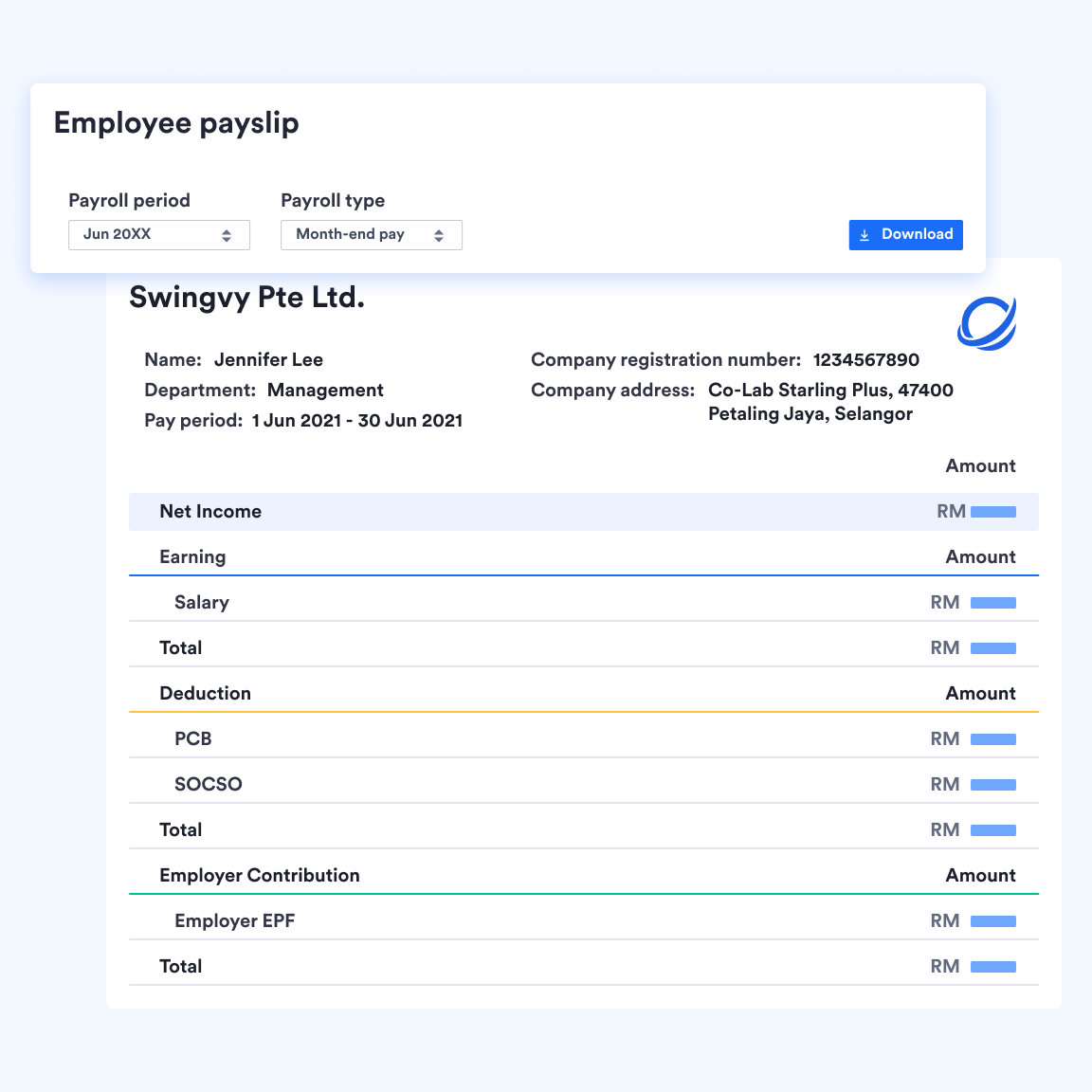 Employe view of digital payslips inside Swingvy's payroll platform