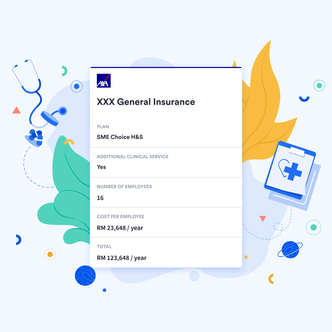 View of customised insurance quote inside Swingvy benefits management platform