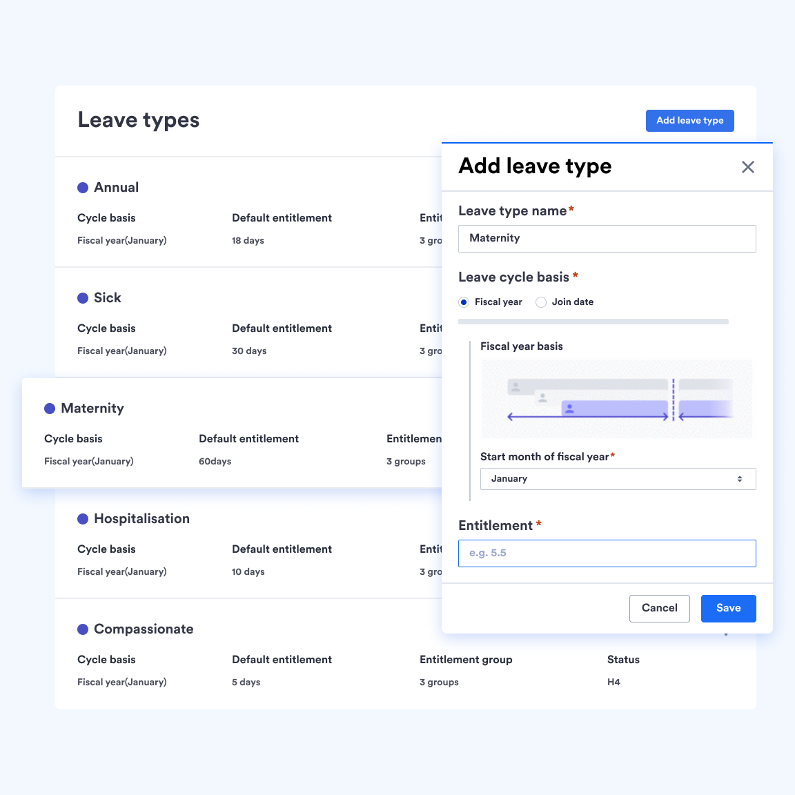 Admin view of Swingvy leave management system leave type creation