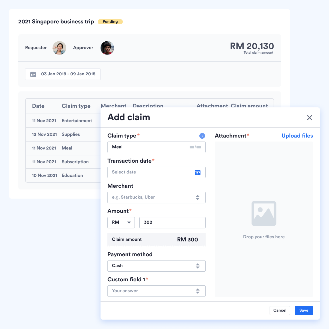 Screenshot from Swingvy platform of the claims management system view for employees