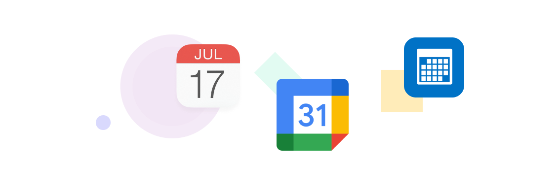 Image of Swingvy integration logos with Google, Outlook and iCal