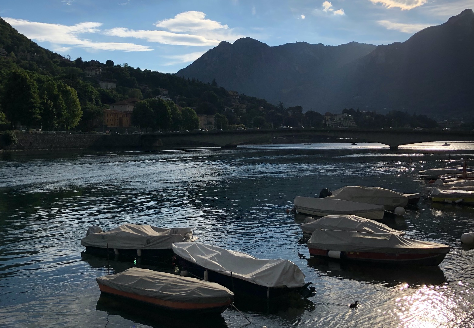 Lake Como, Italy. Boats moored up at edge of the lake. Green forested hills surround the lake baked by a bright blue sky.