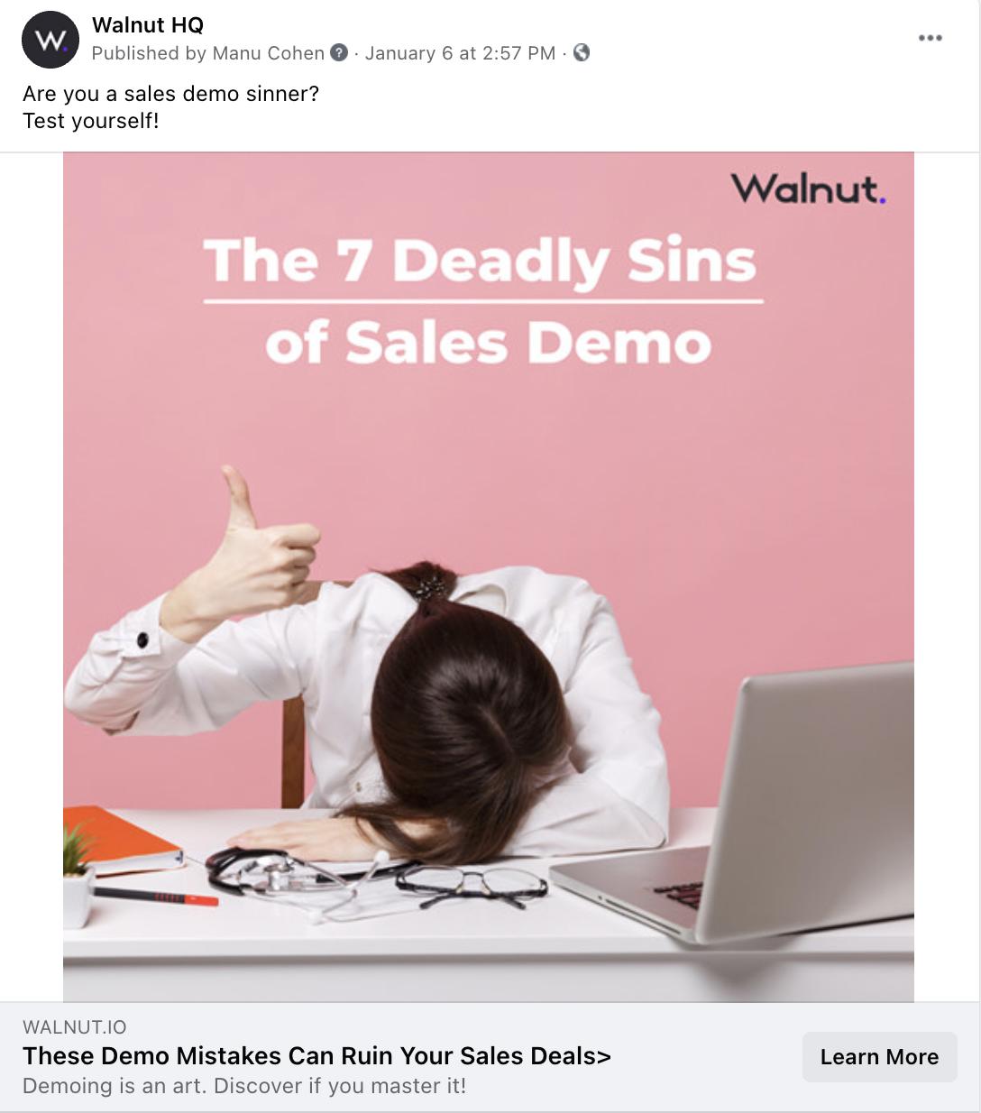 Social media - Blog sharing Walnut - Sales demo mistakes