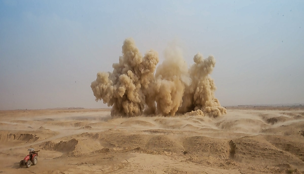 Destruction of IEDs by controlled explosion in Iraq