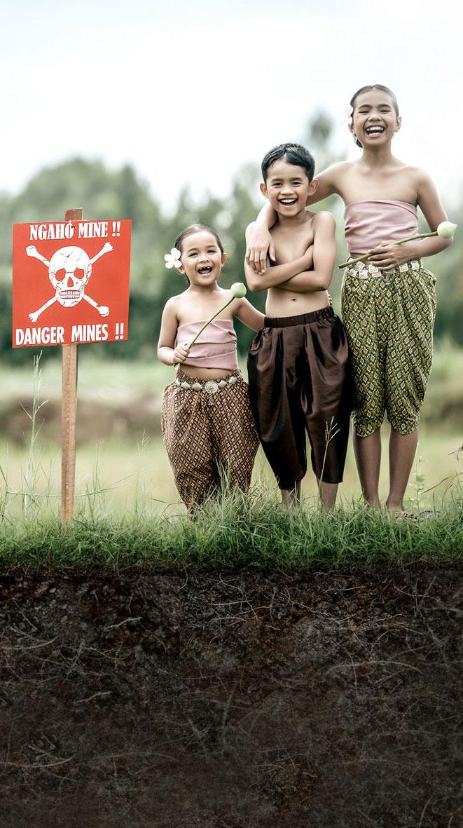 Three children above a landmine