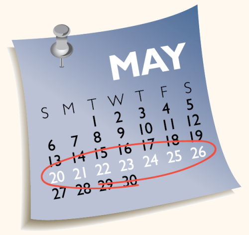 calendar with 5 days in the week circled