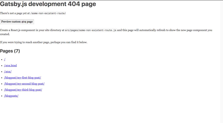 gatsby.js development 404 page