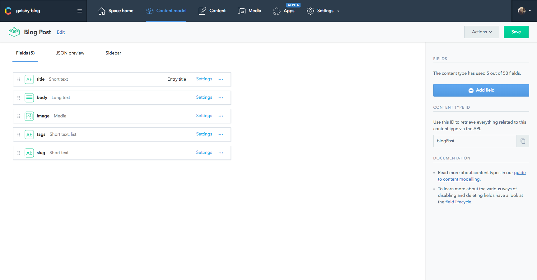 content model screenshot