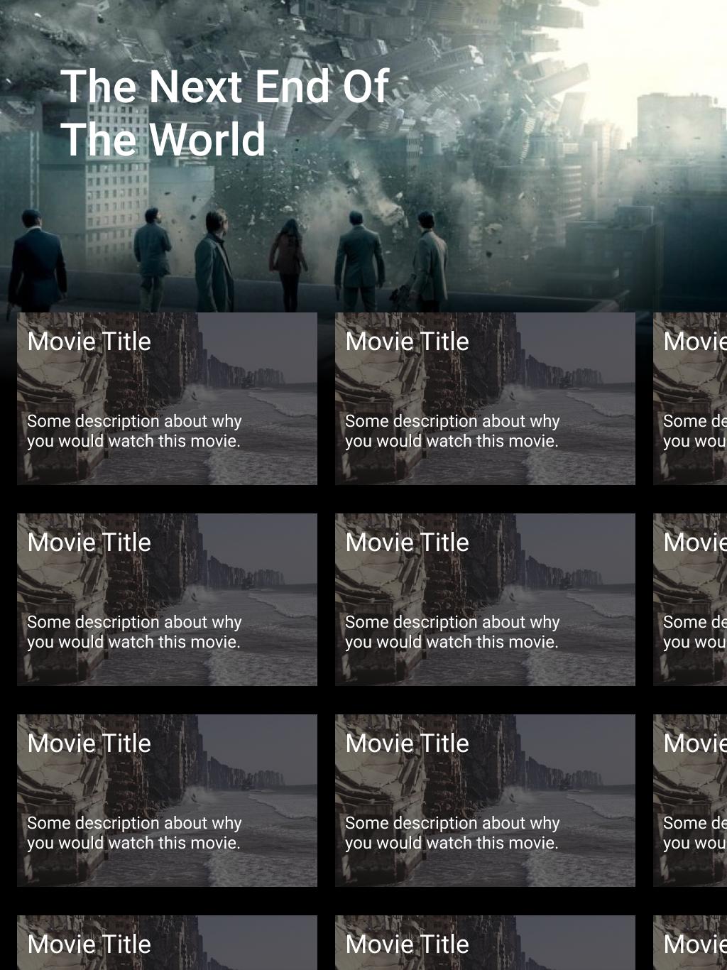 Movies Lander on a Tablet