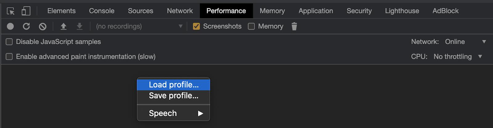 Loading a performance profile on Chrome DevTools