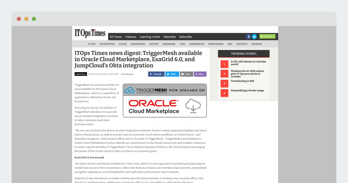 ITOps Times news digest: TriggerMesh available in Oracle Cloud Marketplace