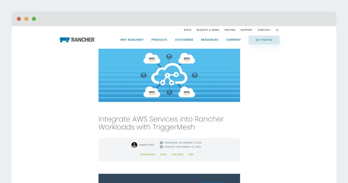 Rancher – Integrate AWS Services into Rancher Workloads with Triggermesh