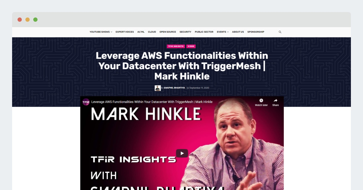 TFiR – Leverage AWS Functionalities Within Your Datacenter With TriggerMesh