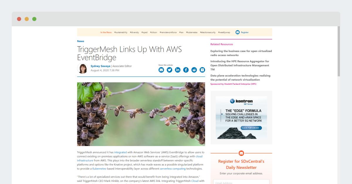 SDXCentral – Triggermesh Links Up With AWS EventBridge
