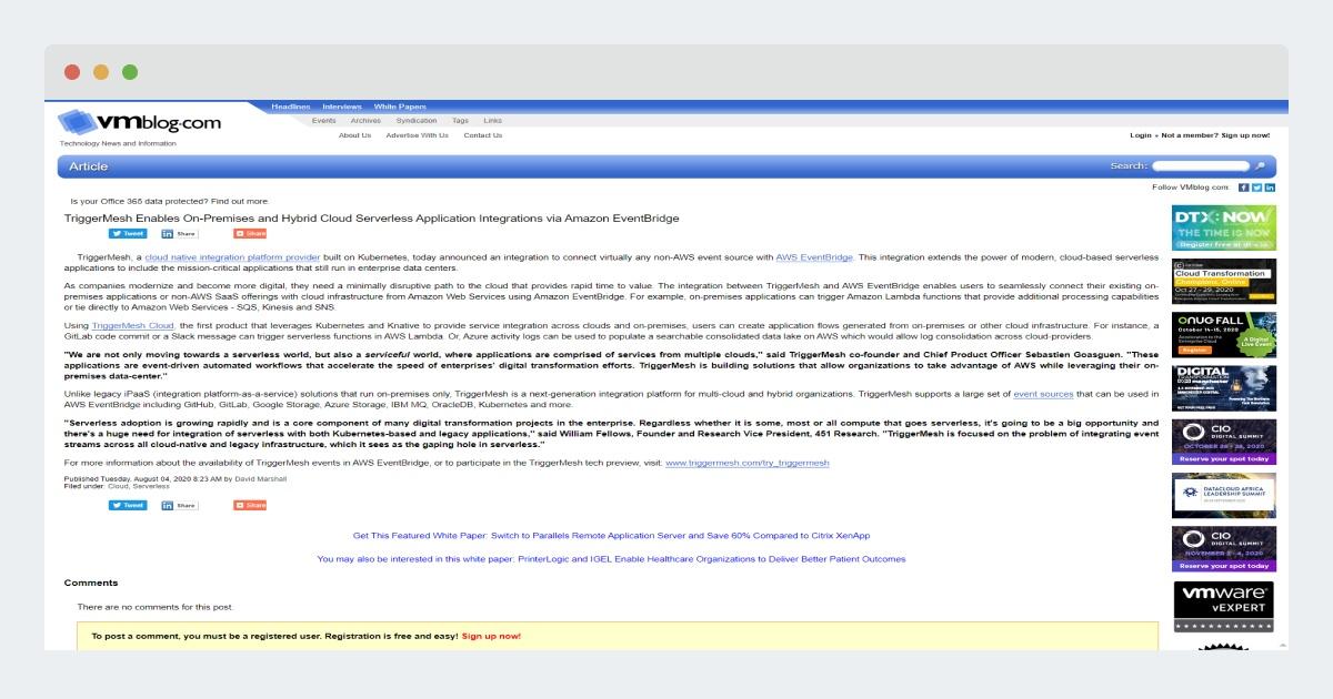 VMBlog.com – TriggerMesh Enables On-Premises and Hybrid Cloud Serverless Application Integrations via Amazon EventBridge