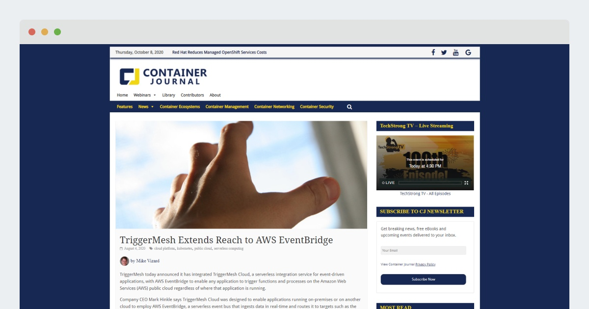 ContainerJournal-TriggerMesh Extends Reach to AWS EventBridge