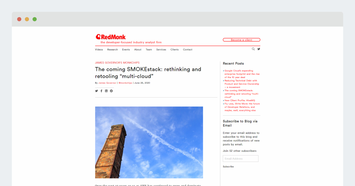 "RedMonk – The coming SMOKEstack: rethinking and retooling ""multi-cloud"""