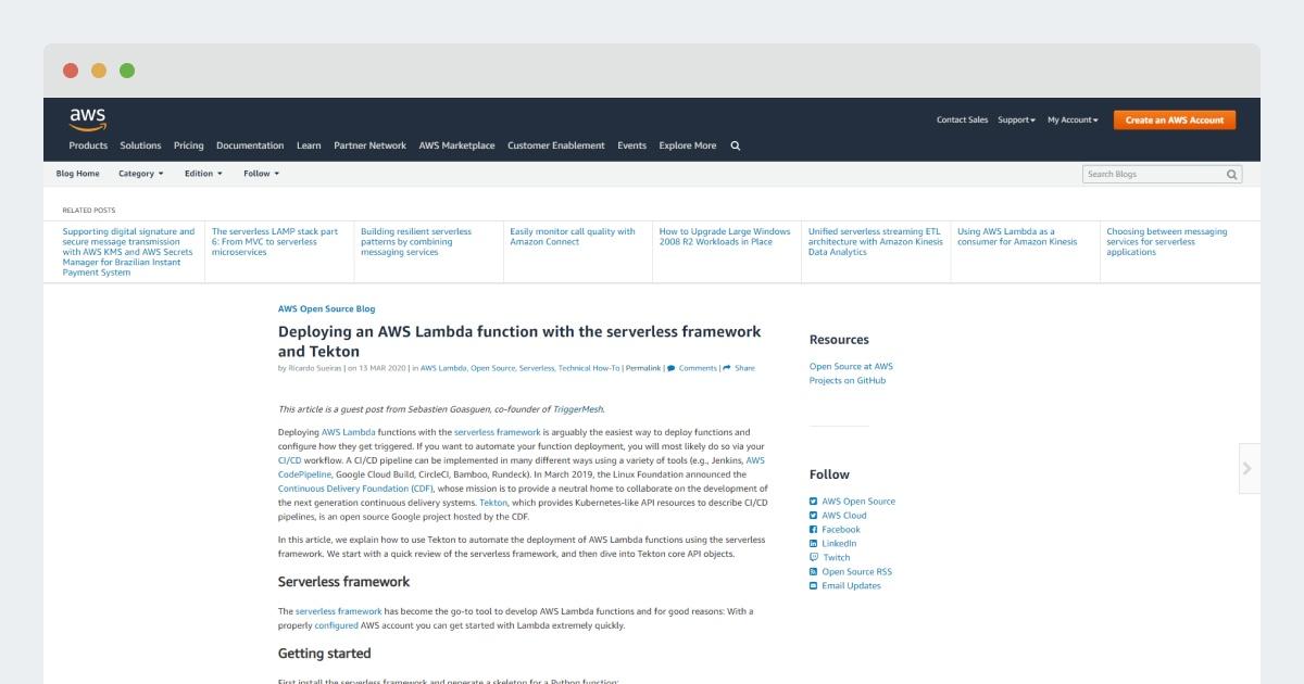 AWS Open Source Blog – Deploying an AWS Lambda function with the serverless framework and Tekton