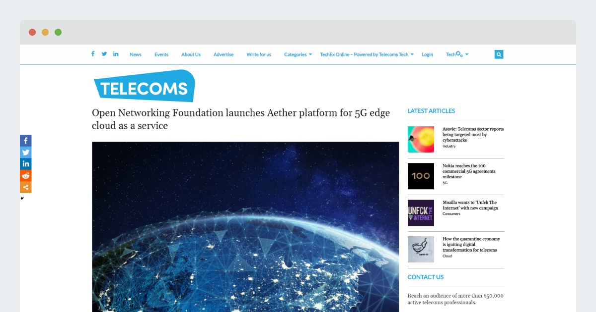 Telecoms Tech News – Aether platform for 5G edge cloud as a service