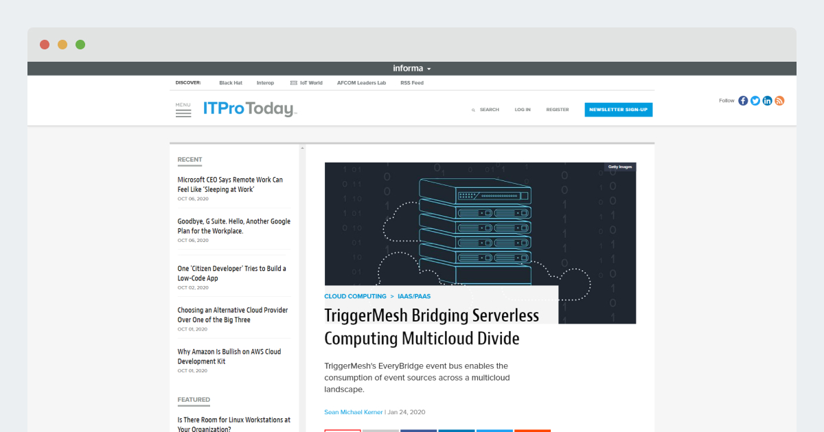 ITPro Today – TriggerMesh Bridging Serverless Computing Multicloud Divide