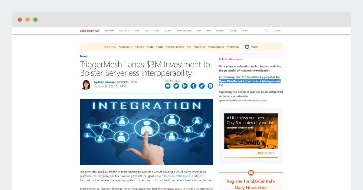SDX Central – TriggerMesh Lands $3M Investment to Bolster Serverless Interoperability
