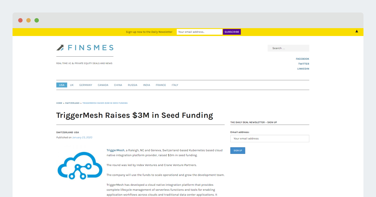 Finsmes – TriggerMesh Raises $3M in Seed Funding