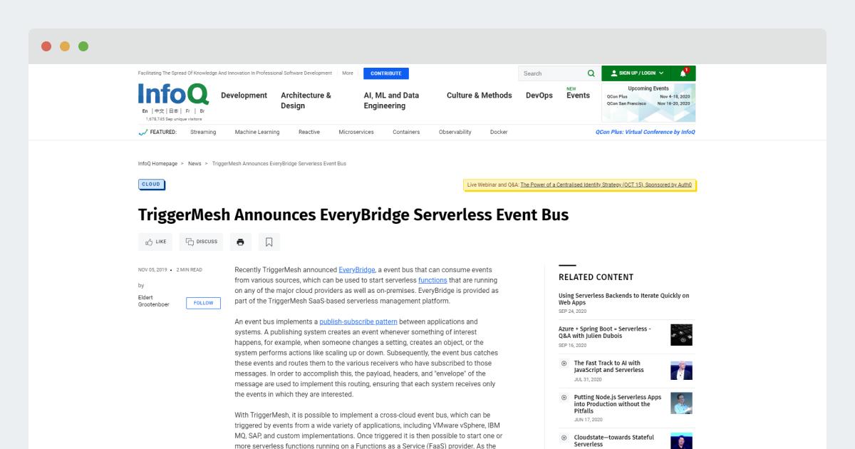 InfoQ – TriggerMesh Announces EveryBridge Serverless Event Bus