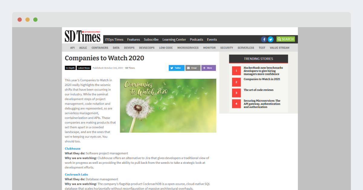 SD Times – Companies to Watch 2020