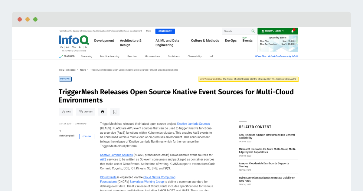 InfoQ – TriggerMesh Releases Open Source Knative Event Sources for Multi-Cloud Environments