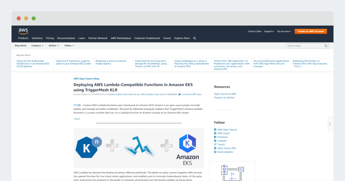 AWS Open Source Blog – Deploying AWS Lambda-Compatible Functions in Amazon EKS using TriggerMesh KLR