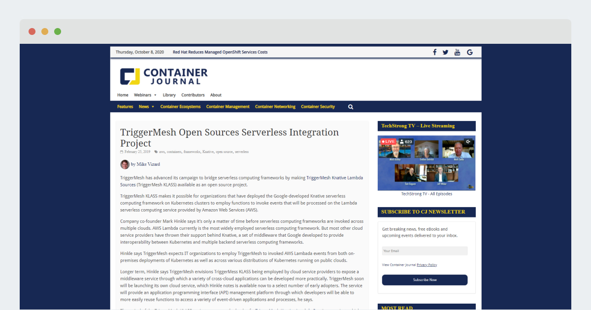 Container Journal – TriggerMesh Open Sources Serverless Integration Project