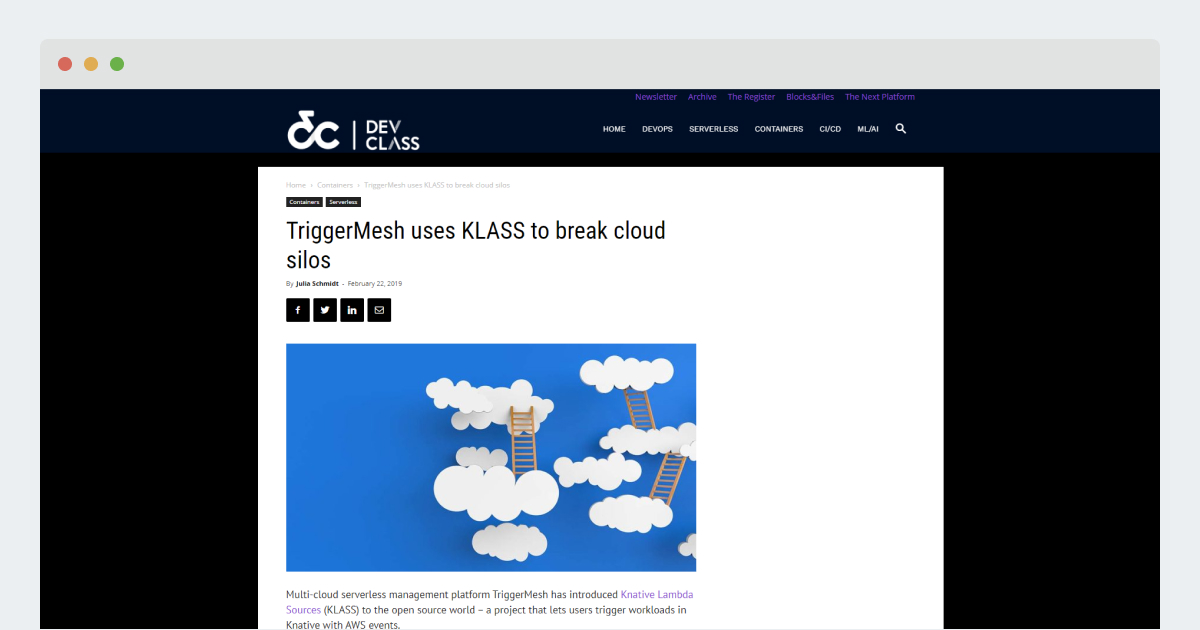 Dev Class – TriggerMesh uses KLASS to break cloud silos