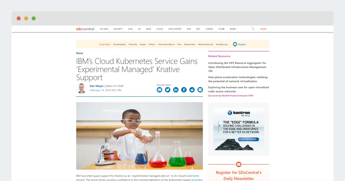 SDX Central – IBM's Cloud Kubernetes Service Gains 'Experimental Managed' Knative Support